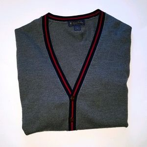 Brooks Brothers cardigan 100% merino wool stripe